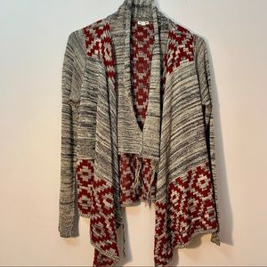 Eyeshadow Aztec Open Front Gray Boho Red Cardigan